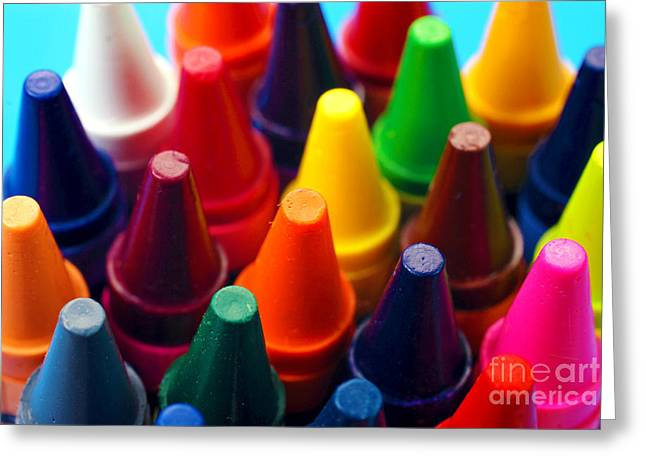 Colorful Crayons Closeup Greeting Card by Danny Hooks