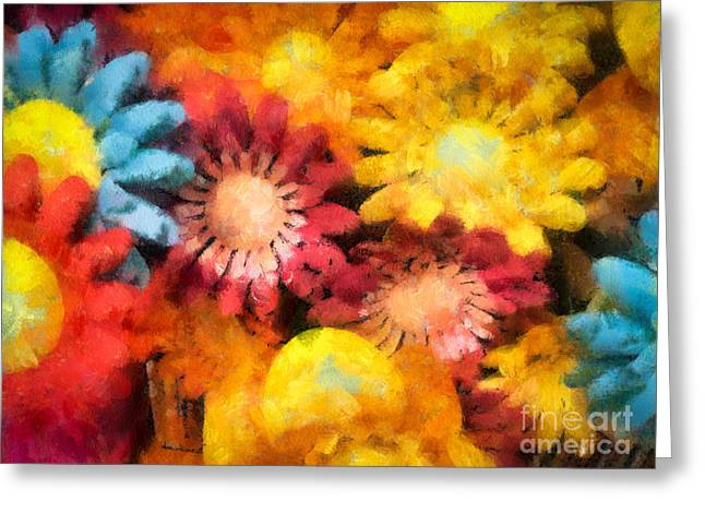 Colorful Daisies Greeting Card by Amy Cicconi