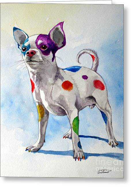 Colorful Dalmatian Chihuahua Greeting Card