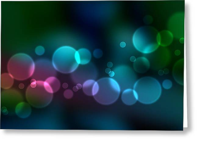 Colorful Defocused Lights Greeting Card by Aged Pixel