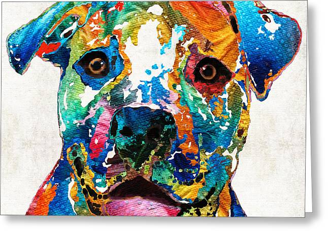 Colorful Dog Pit Bull Art - Happy - By Sharon Cummings Greeting Card