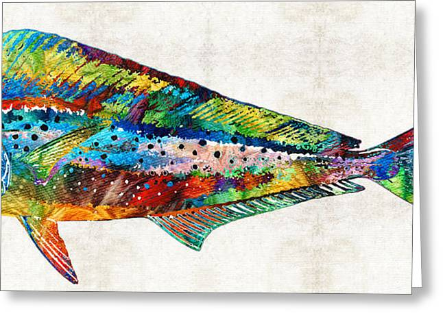 Colorful Dolphin Fish By Sharon Cummings Greeting Card