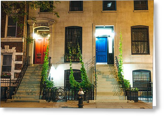 Colorful Doors At Night - New York City Greeting Card