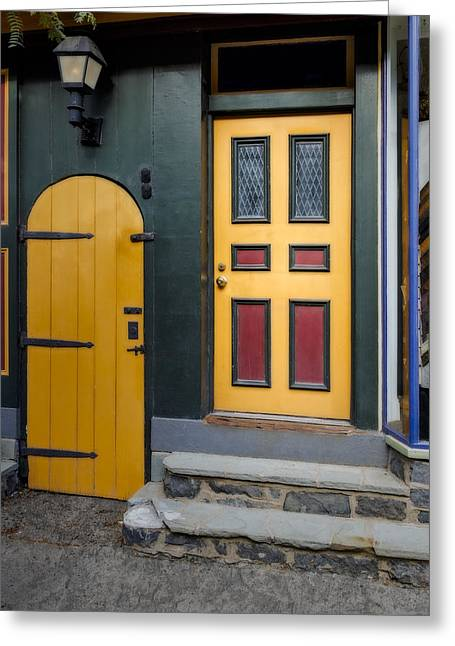 Colorful Doors Greeting Card by Susan Candelario