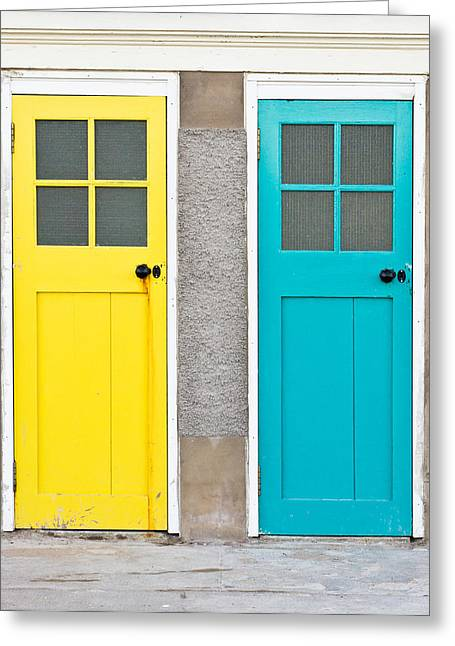 Colorful Doors Greeting Card