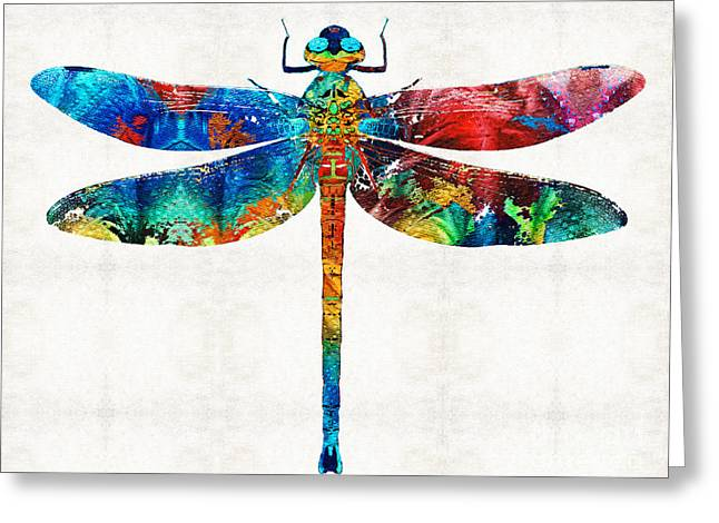 Colorful Dragonfly Art By Sharon Cummings Greeting Card