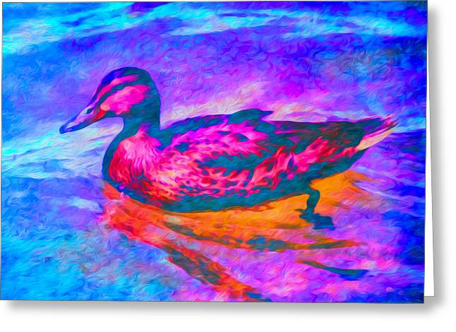 Greeting Card featuring the digital art Colorful Duck Art By Priya Ghose by Priya Ghose