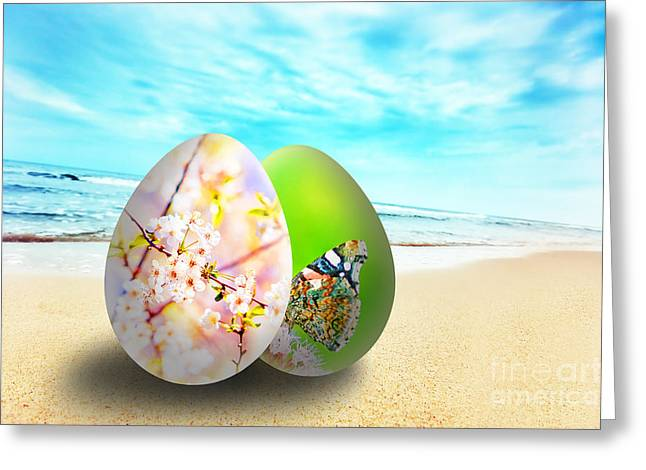 Colorful Easter Eggs On Sunny Beach Greeting Card by Michal Bednarek