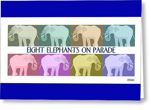 Colorful Elephants Greeting Card by Marian Cates