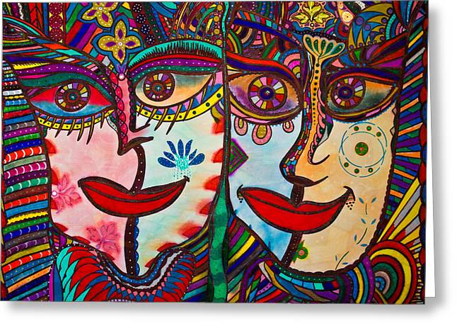 Colorful Faces Gazing - Ink Abstract Faces Greeting Card
