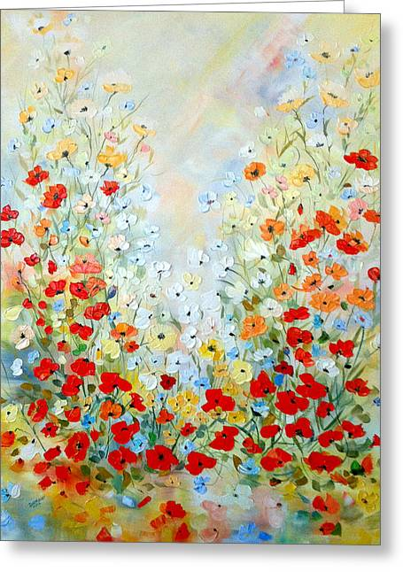 Colorful Field Of Poppies Greeting Card by Dorothy Maier