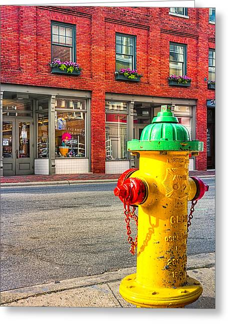 Colorful Fire Hydrant On The Streets Of Asheville Greeting Card by Mark E Tisdale