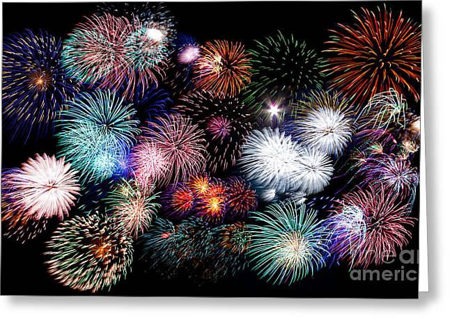 Colorful Fireworks Of Various Colors In Night Sky Greeting Card by Stephan Pietzko