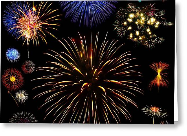 Colorful Are Fireworks Greeting Card by Stanley Mathis
