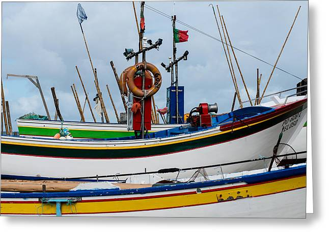 colorful fishing boat with Portuguese flag  Greeting Card