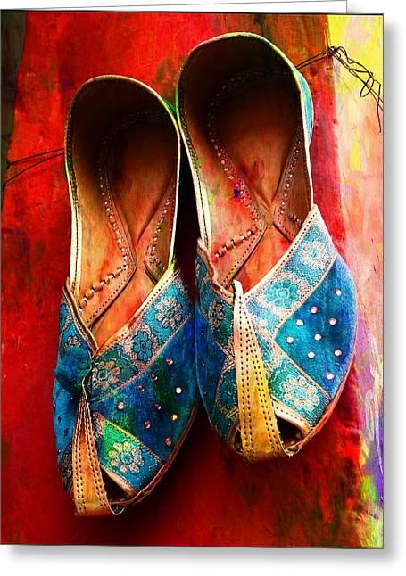 Colorful Footwear Juttis Sales Jaipur Rajasthan India Greeting Card