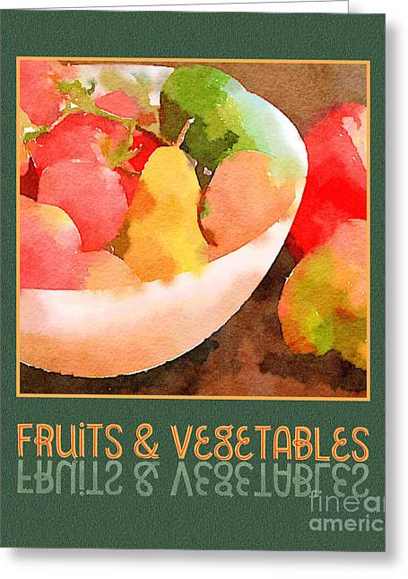 Colorful Fruits And Vegetables Digital Watercolor  Greeting Card