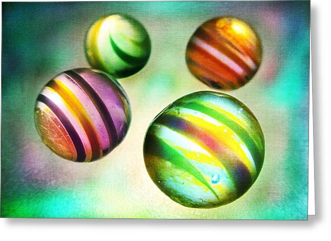 Colorful Glass Marbles Greeting Card by Marianna Mills