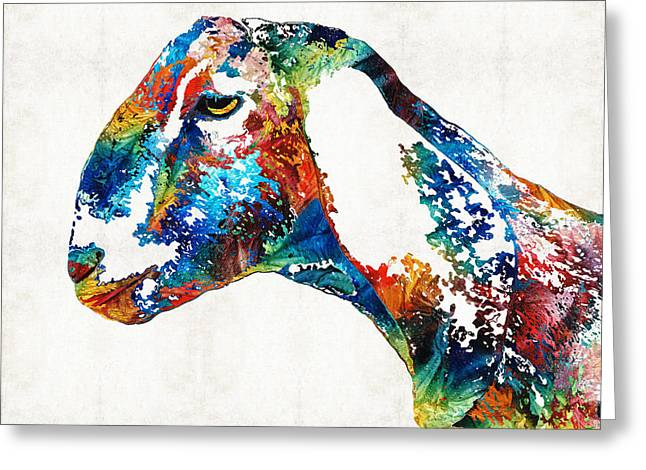 Colorful Goat Art By Sharon Cummings Greeting Card