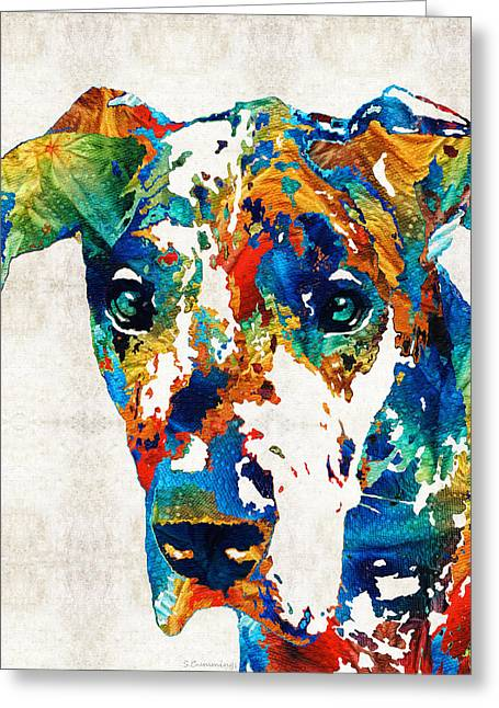 Colorful Great Dane Art Dog By Sharon Cummings Greeting Card