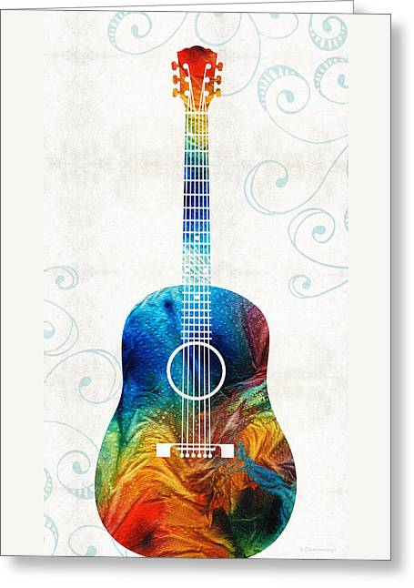 Colorful Guitar Art By Sharon Cummings Greeting Card