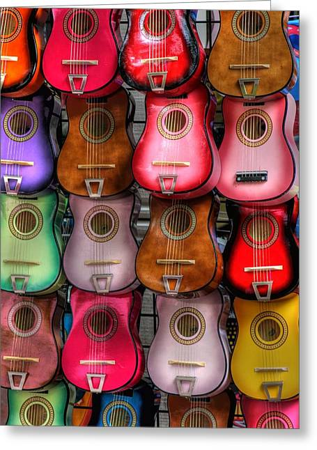 Colorful Guitars Greeting Card by Tony  Colvin