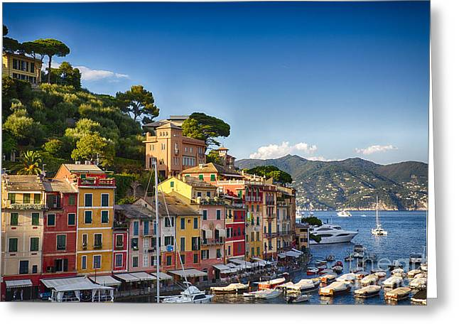 Colorful Harbor Houses In Portofino Greeting Card by George Oze