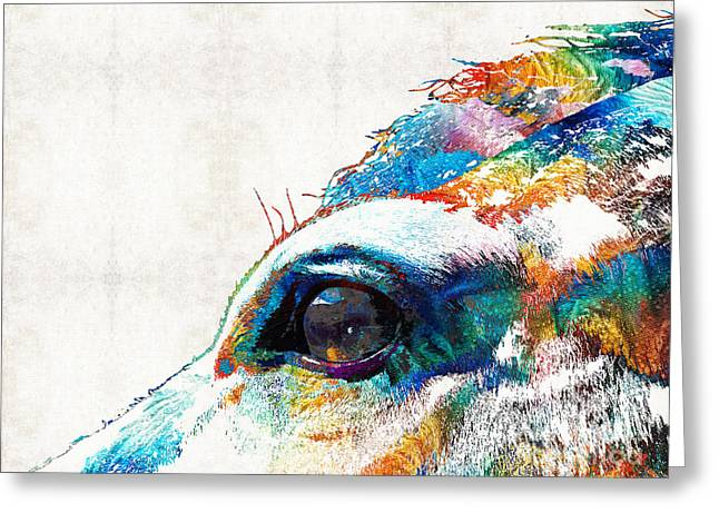 Colorful Horse Art - A Gentle Sol - Sharon Cummings Greeting Card