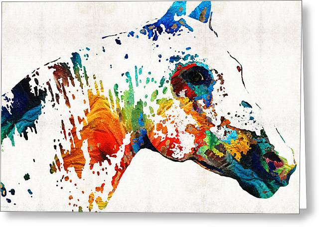 Colorful Horse Art - Wild Paint - By Sharon Cummings Greeting Card