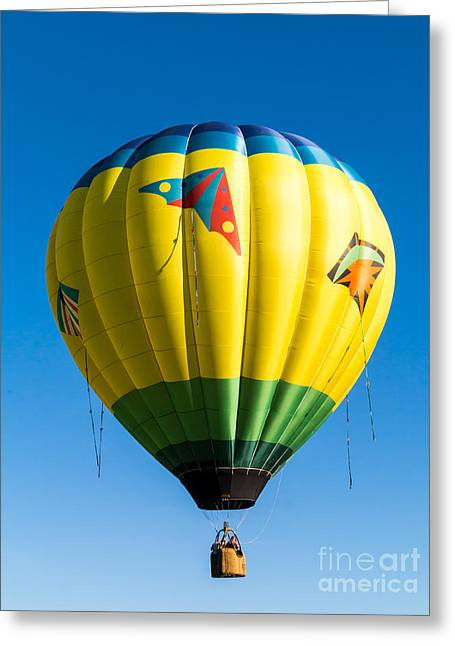 Colorful Hot Air Balloon Over Vermont Greeting Card by Edward Fielding