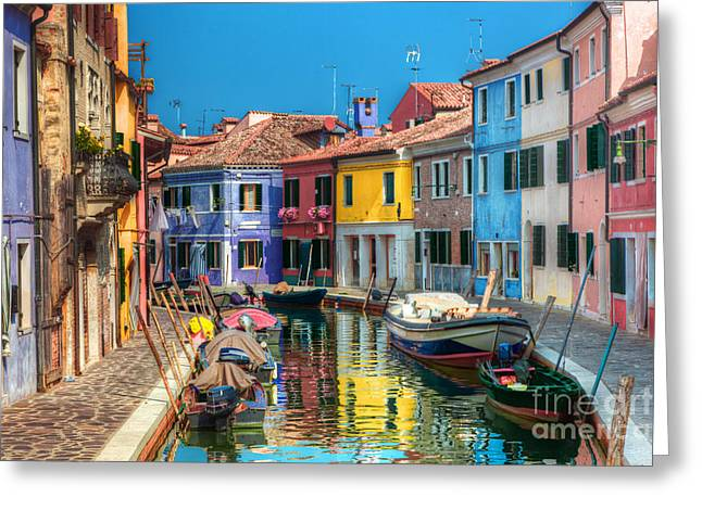 Colorful Houses And Canal On Burano Island Near Venice Italy Greeting Card by Michal Bednarek