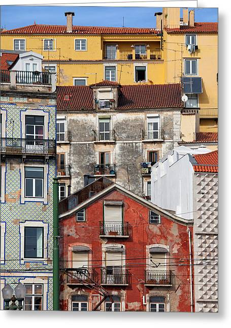 Colorful Houses In The City Of Lisbon Greeting Card by Artur Bogacki