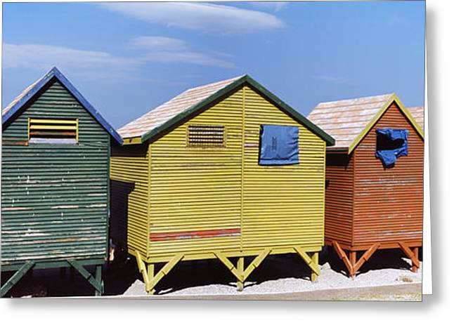 Colorful Huts On The Beach, St. James Greeting Card by Panoramic Images