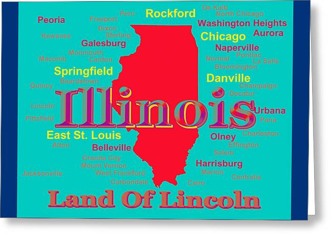 Colorful Illinois State Pride Map Silhouette  Greeting Card by Keith Webber Jr