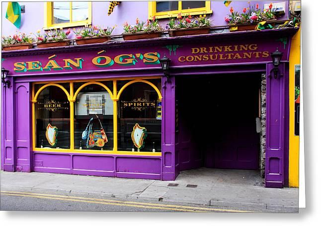 Colorful Irish Pub Greeting Card by Aidan Moran