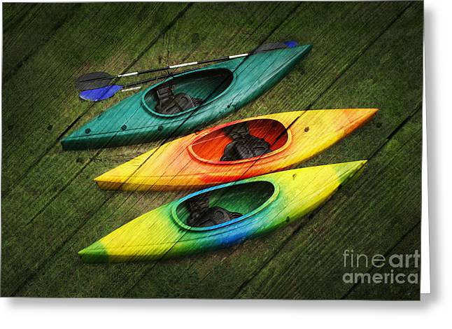 Colorful Kayaks Greeting Card by Suzi Nelson