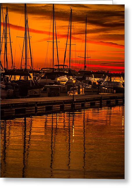 Colorful Lake Norman Sunset Greeting Card by Serge Skiba