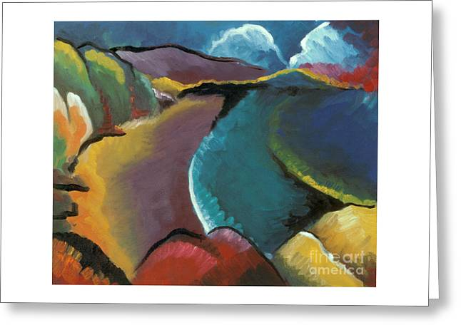colorful abstract oil painting - Rocky Beach Greeting Card