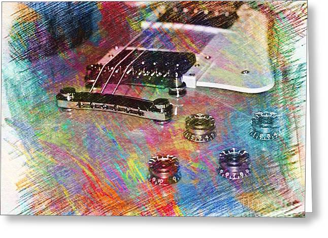 Colorful Les Paul Greeting Card by Lisa  Telquist