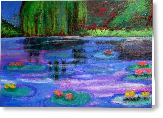 Colorful Lilly  Pad Flowers After Monet Greeting Card