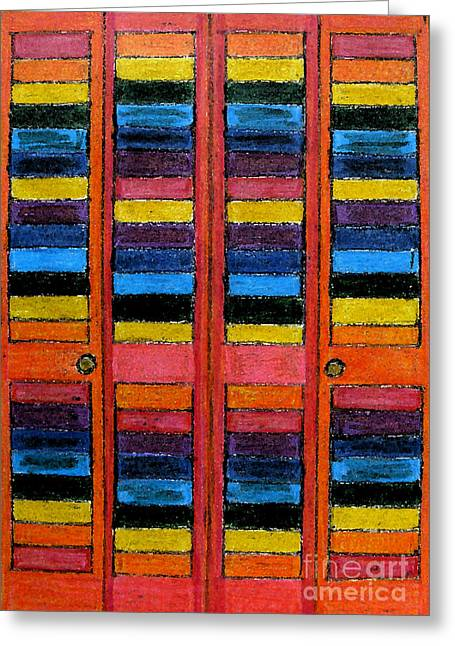 Colorful Louvre Doors Greeting Card by Patricia Januszkiewicz