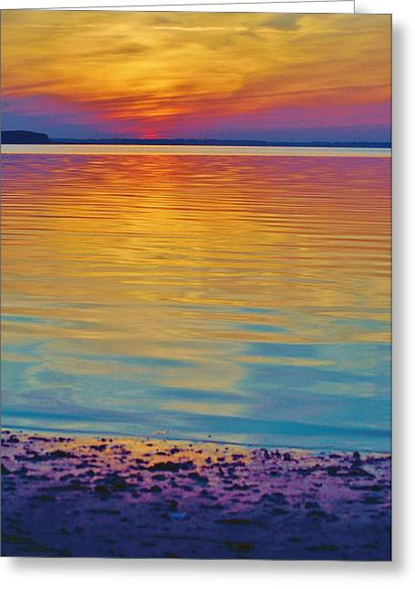 Colorful Lowtide Sunset Greeting Card