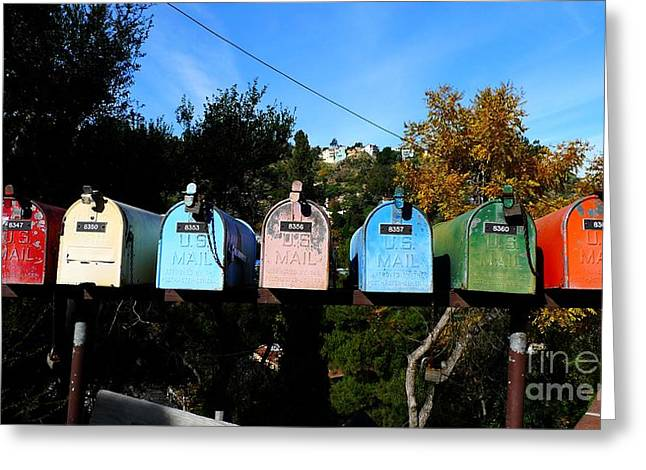 Colorful Mailboxes Greeting Card by Nina Prommer