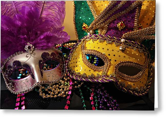Colorful Mardi Gras Masks Greeting Card