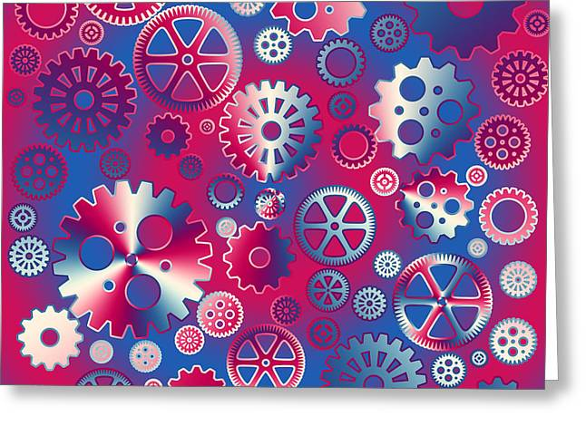 Colorful Metallic Gears Greeting Card by Gaspar Avila