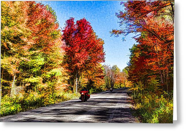 Colorful Motorcycle Ride - Impressions Of Fall Greeting Card by Georgia Mizuleva