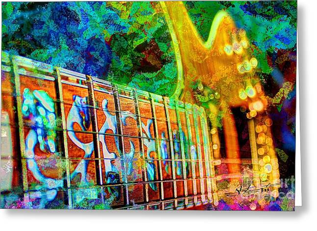 Colorful Music Digital Guitar Art By Steven Langston Greeting Card by Steven Lebron Langston