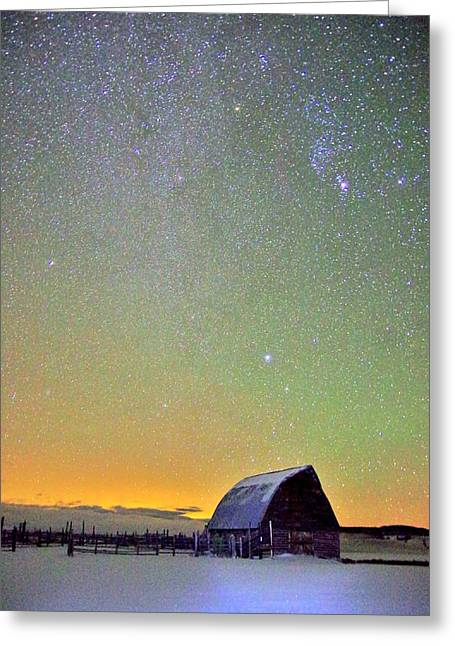 Colorful Night Barn Greeting Card by Matt Helm