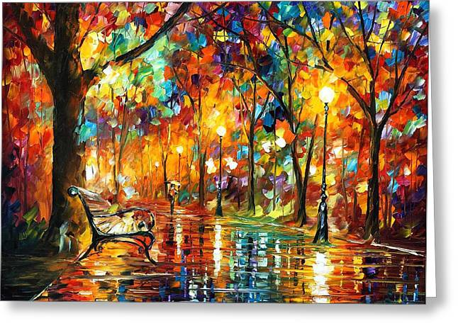 Colorful Night - Palette Knlfe Oil Painting On Canvas By Leonid Afremov Greeting Card by Leonid Afremov
