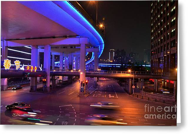 Colorful Night Traffic Scene In Shanghai China Greeting Card